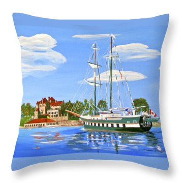 Throw Pillow featuring the painting St Lawrence Waterway 1000 Islands by Phyllis Kaltenbach