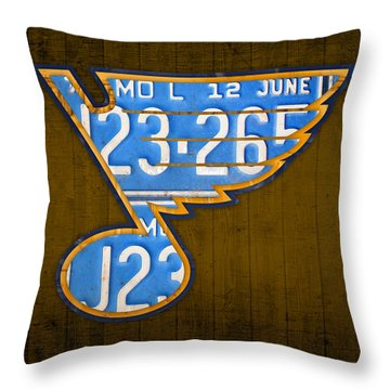 St Louis Blues Hockey Team Retro Logo Vintage Recycled Missouri License Plate Art Throw Pillow By