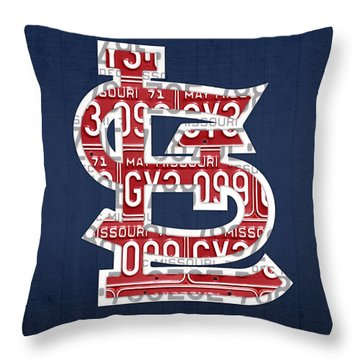 St. Louis Cardinals Baseball Vintage Logo License Plate Art Throw Pillow by Design Turnpike