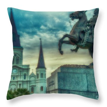 St. Louis Cathedral And Andrew Jackson- Artistic Throw Pillow