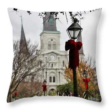 St. Louis Cathedral At Christmas Throw Pillow by Lynn Jordan