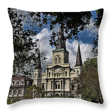 St. Louis Cathedral Throw Pillow by Judy Vincent