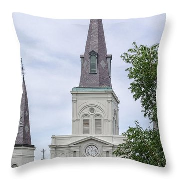 St. Louis Cathedral Through Trees Throw Pillow