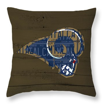 St Louis Rams Football Team Retro Logo Recycled Missouri License Plate Art Throw Pillow By Design
