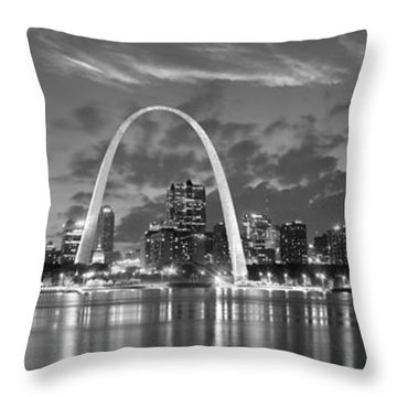 Throw Pillow featuring the photograph St. Louis Skyline At Dusk Gateway Arch Black And White Bw Panorama Missouri by Jon Holiday