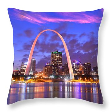 Throw Pillow featuring the photograph St. Louis Skyline At Dusk Gateway Arch Color Panorama Missouri by Jon Holiday