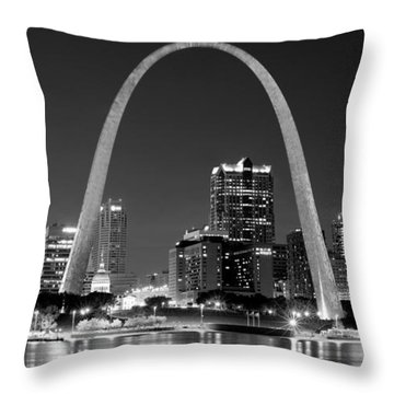 Throw Pillow featuring the photograph St. Louis Skyline At Night Gateway Arch Black And White Bw Panorama Missouri by Jon Holiday