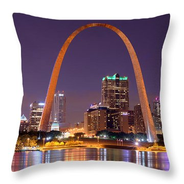 Throw Pillow featuring the photograph St. Louis Skyline At Night Gateway Arch Color Panorama Missouri by Jon Holiday