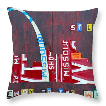 St. Louis Skyline License Plate Art Throw Pillow by Design Turnpike