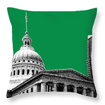 St Louis Skyline Old Courthouse - Forest Throw Pillow