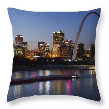 St Louis Skyline With Barges Throw Pillow