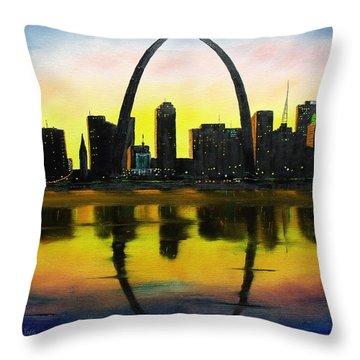 St. Louis Sunset Throw Pillow
