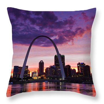 St Louis Sunset Throw Pillow by Garry McMichael