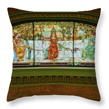 St Louis Union Station Allegorical Window Throw Pillow by Greg Kluempers