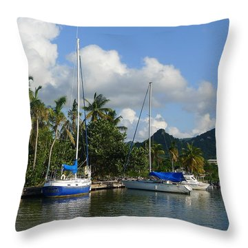 St. Lucia - Cruise - Boats At Dock Throw Pillow