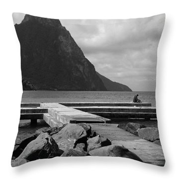 St Lucia Petite Piton 5 Throw Pillow