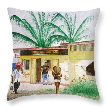 St. Lucia Store Throw Pillow