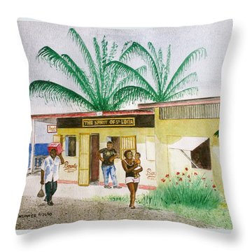 St. Lucia Store Throw Pillow by Frank Hunter