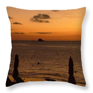 St. Lucia - Sundown - Closed Umbrellas Throw Pillow