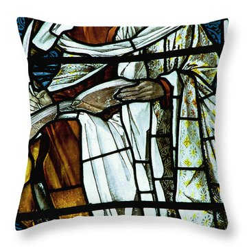 St Luke In Stained Glass Throw Pillow by Philip Ralley