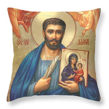 St. Luke Throw Pillow by Zorina Baldescu