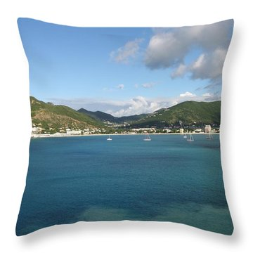 Throw Pillow featuring the photograph St Maarten At A Distance by Jean Marie Maggi
