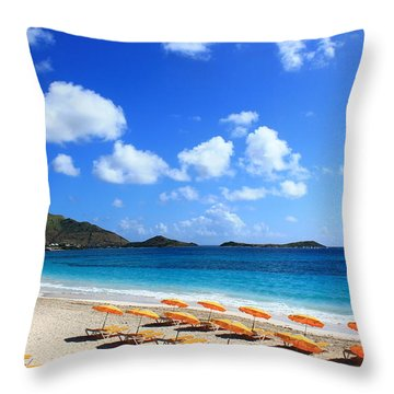 St. Maarten Calm Sea Throw Pillow by Catie Canetti