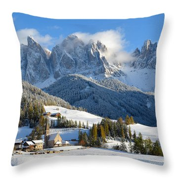 St. Magdalena Village In The Snow In Winter Throw Pillow
