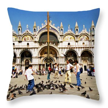 Throw Pillow featuring the photograph St. Mark's Basilica  by Allen Beatty