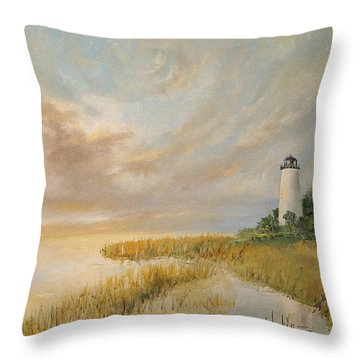 Throw Pillow featuring the painting St Marks Lighthouse by Alan Lakin