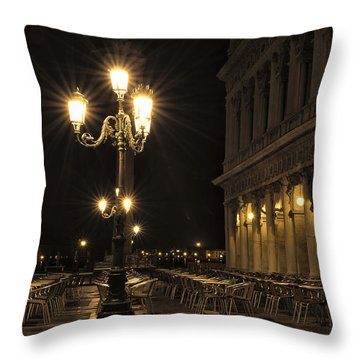 St Mark's Square At Night Throw Pillow by Marion Galt