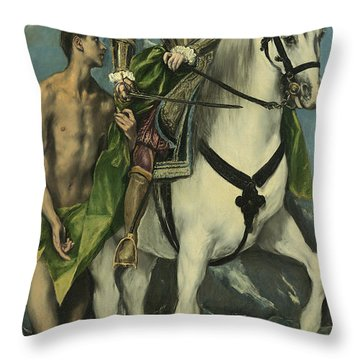 St. Martin And The Beggar Throw Pillow by Domenico Theotocopuli El Greco