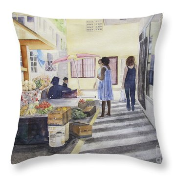 St Martin Locals Throw Pillow by Carol Flagg