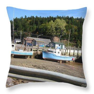 St-martin's Fishing Fleet Throw Pillow by Francine Heykoop