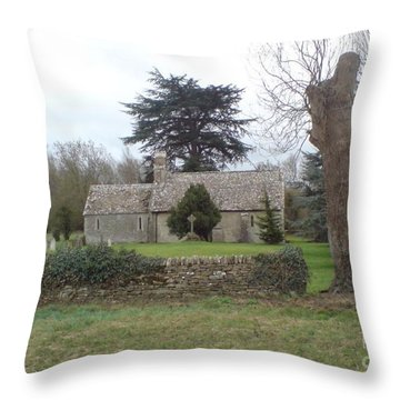 St Mary Church Ampney Throw Pillow by John Williams