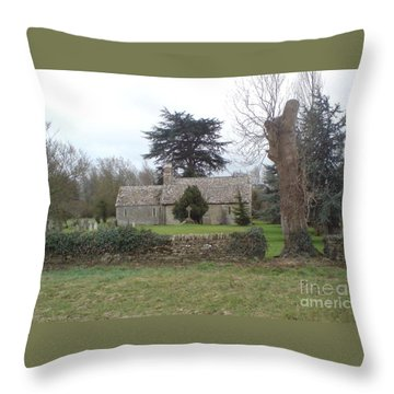 St Mary Church Ampney Throw Pillow by John Williams