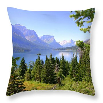 St. Mary Lake Throw Pillow by Bob Hislop