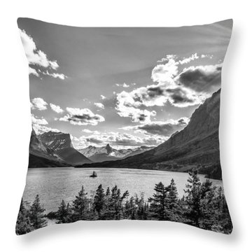 St. Mary Lake Bw Throw Pillow