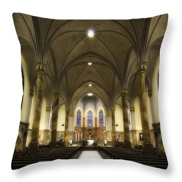 Throw Pillow featuring the photograph St Mary's Catholic Church by Lynn Geoffroy