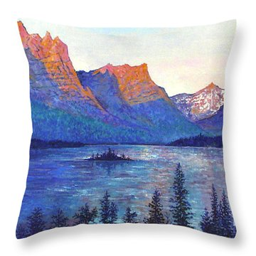 St. Mary's Lake Montana Throw Pillow by Lou Ann Bagnall