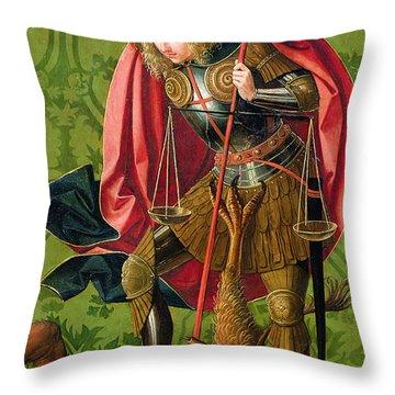 St. Michael Killing The Dragon  Throw Pillow