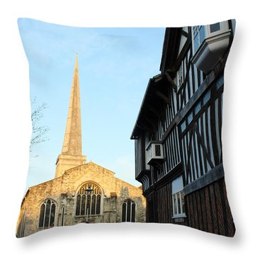 St Michael's Church And Tudor House Southampton Throw Pillow by Terri Waters