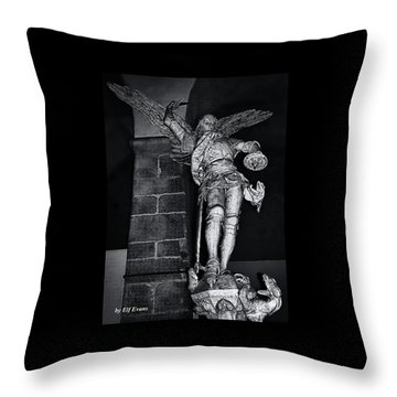 Throw Pillow featuring the photograph St. Michel Slaying The Dragon by Elf Evans