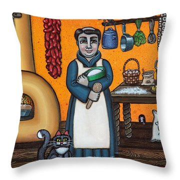 St. Pascual Making Bread Throw Pillow