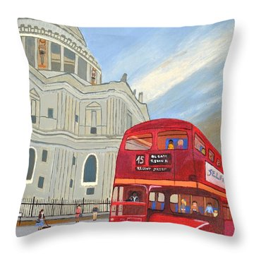 St. Paul Cathedral And London Bus Throw Pillow