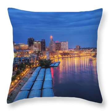 St Paul Skyline At Night Throw Pillow