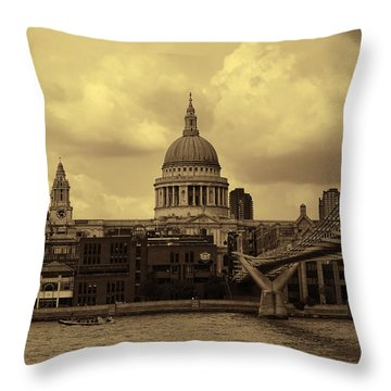 St Paul's Cathedral And Millennium Bridge London Throw Pillow by Nicky Jameson