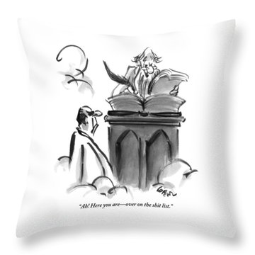 St. Peter Is Talking To A Man Trying To Enter Throw Pillow
