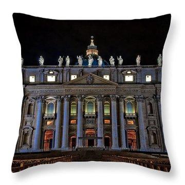 St Peter's At Night Throw Pillow