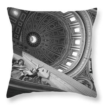 St Peter's Basilica Bw Throw Pillow by Chevy Fleet